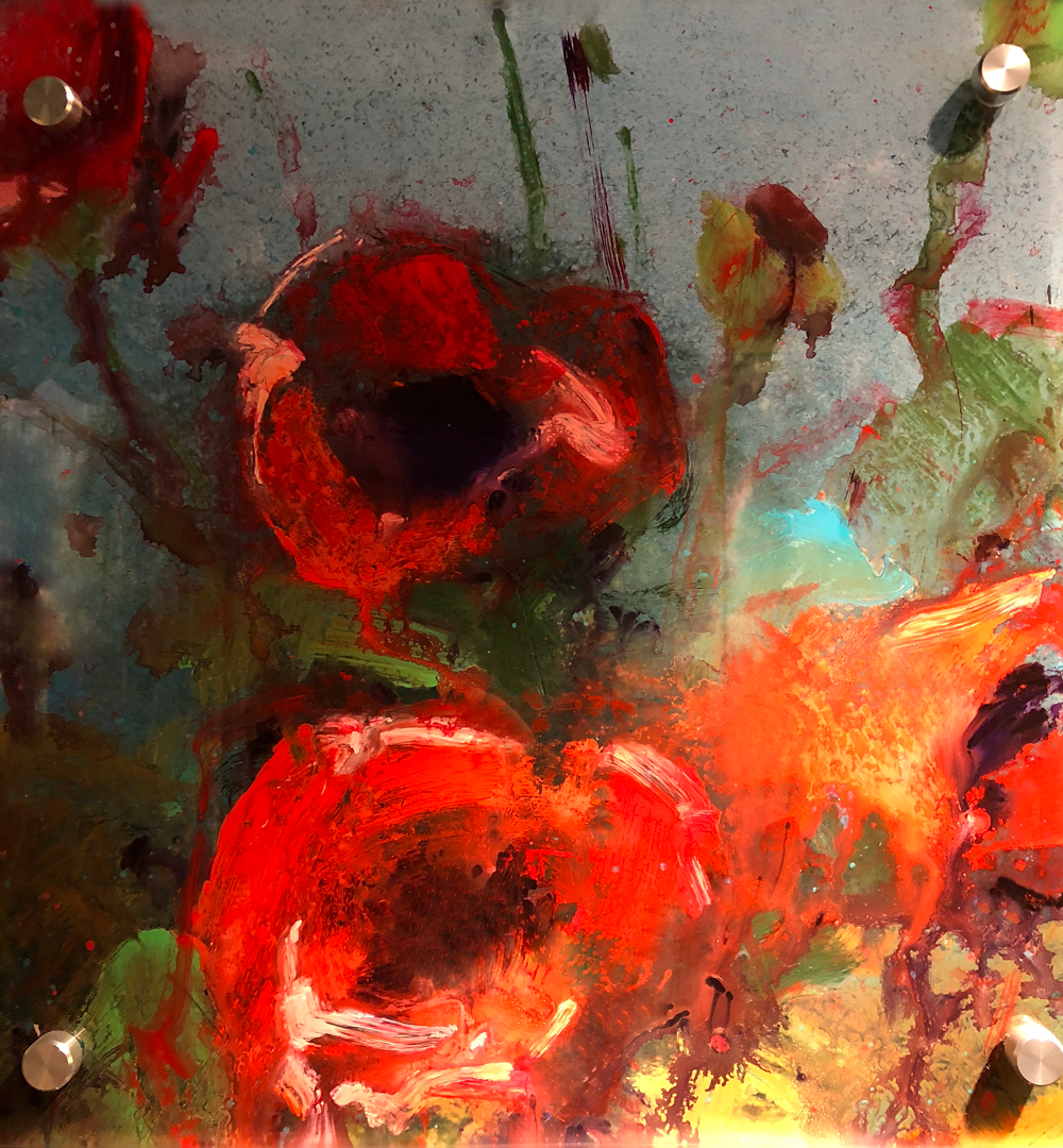 Poppies on Glass 1